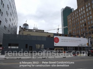 Peter Street Condos prepares for construction--the view from Peter Street looking East